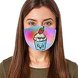 Kviklo Écharpe de protection respirante pour adulte et enfant Motif crème glacée Imprimé réutilisable Coton mélangé (adultes-B)