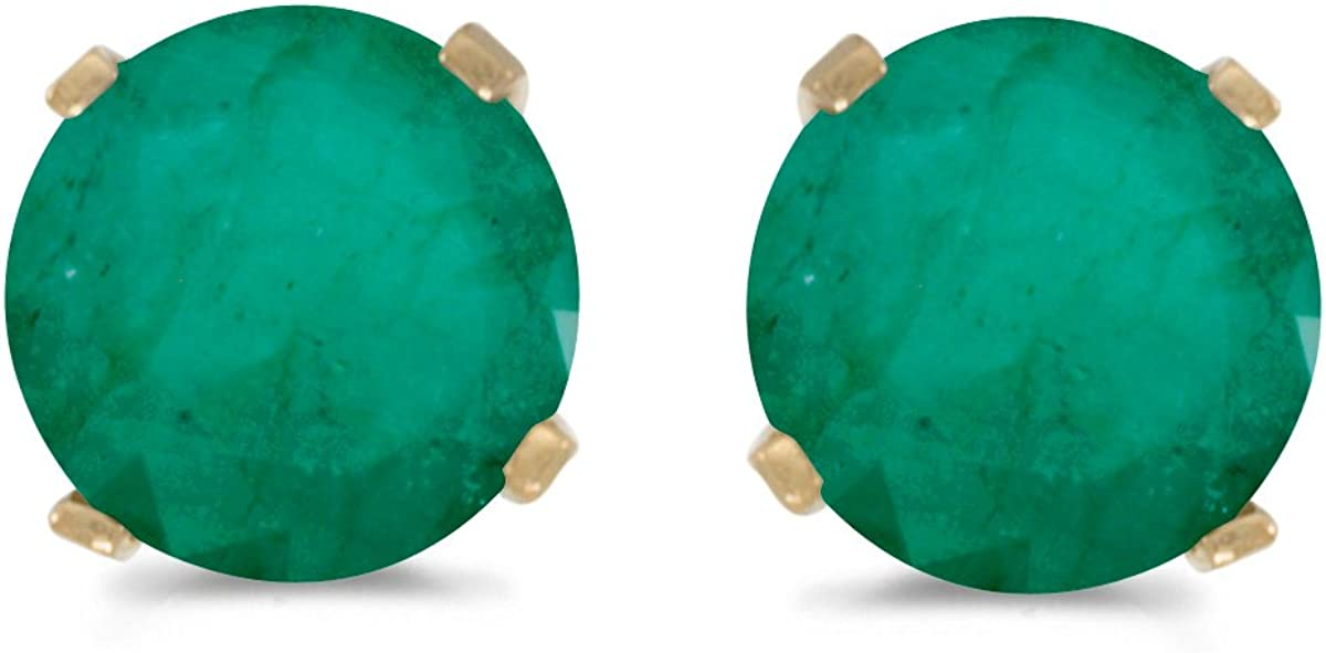 5 mm Natural Round Emerald Stud 14k in Set Brand new Earrings Factory outlet Gold Yellow