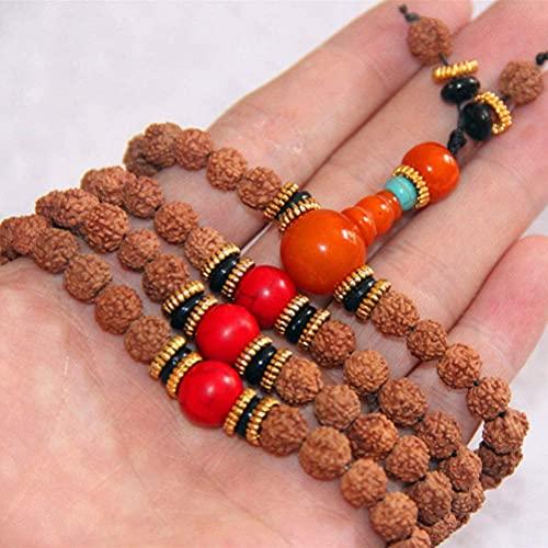ZHIRCEKE Rudraksha Mala 108 Beads Collar Pulsera de oración de meditación tibetana para Mujeres Hombres