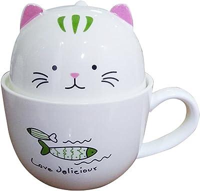 Shellme 猫のマグカップ セラミック 湯飲み フタ付き 招き猫 可愛い おしゃれ 多機能 大容量 プレゼント オフィス 家庭用 学生 通勤 通学 350ml