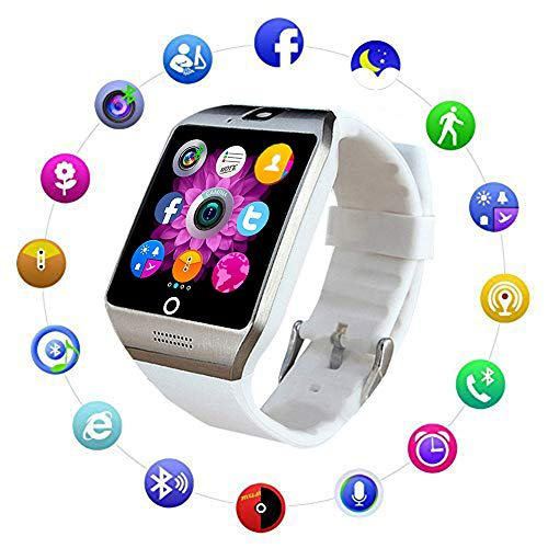 Image of Bluetooth Smart Watch Fitness Tracker - Sport Watch Touch Screen with Camera Pedometer Sleep Monitor Call/Message Reminder Music Player Anti-Lost - Compatible Android Smartwatches (White): Bestviewsreviews