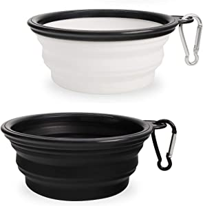 Collapsible Dog Bowl,2 Pack Portable and Foldable Pet Travel Bowls Collapsable Dog Water Feeding Bowls Dish for Dogs Cats and Small Animals, (Small, Black+White)