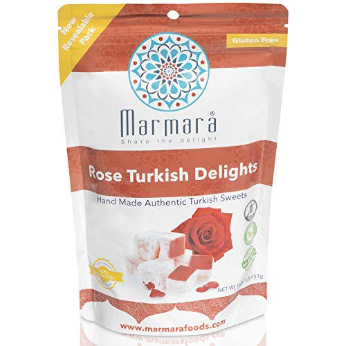 Marmara Rose Turkish Delight Locum with Authentic Rose Flavor No Nuts Hand Made Gourmet Sweet Gift Stand Up Pouch Gluten Free Dairy Free Vegan Candy Dessert 1 Pound 25 - 30 Large 2 inch Confectionery Treats for Family Holiday Gift