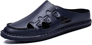 Xujw-shoes, Sandals for Men Round Close Toe PU Leather Summer Perforated Breathable Fashion Casual Soft Lightweight Slipper Anti-Slip Flat Quick-Drying Slip-on