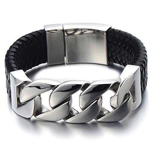 COOLSTEELANDBEYOND 23CM Großes Einzigartiges Geflochtenes Leder-Armband Panzerkette Armband für Herren aus Edelstahl und Echtem Leder