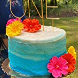 Set of 6 Large Edible Royal Icing Hibiscus Cake decorations - Hawaiian Party or Luau (Assorted)