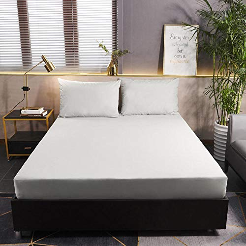 YFGY Extra Deep Pocket Sheets Twin XL,Solid Color Waterproof Mattress Cover Cotton,Protector Sheet Elastic Covers For Bedroom Apartment Light gray 120x200cm