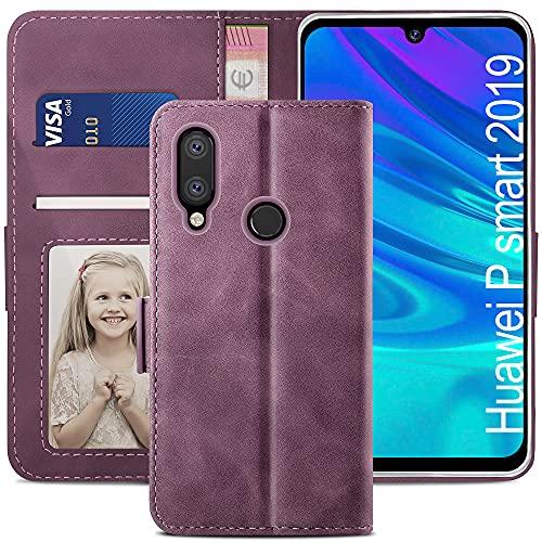 YATWIN Handyhülle Huawei P Smart 2019 Hülle, Klapphülle Huawei P Smart 2019 Premium Leder Brieftasche Schutzhülle [Kartenfach][Magnet][Stand] Handytasche für Huawei P Smart 2019 Hülle, Weinrot