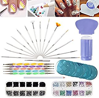 VAGA Manicure Set Nail Art Supplies Nail Kit / 2 Boxes of 1500 Gemstones/Crystals/Gems, Stampers/Scrapers, Stamping Plates, Dotting Tools, Nails Brushes and Rhinestones Decorations Picker Pencil