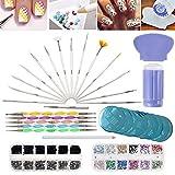 VAGA Kit para hacer nail art, accesorios y herramientas para decorar y estampar uñas, set con placas, estampador, brochas, plumas punteadoras y diamantes para hacer decoración 3D, manicuraprofesional