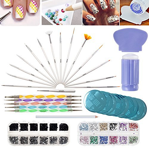VAGA Manicure Set Nail Art Set 3000 strass steentjes kristallen en edelstenen in 2 Nagel opbergdoos Sets, Nagel Stamper, 10 Borden Nagel Stamping Kit, 5 Dotting Tools, 15 Nagel Kunst Borstels, Strass Picker