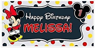 Minnie Mouse Birthday Banner Personalized Party Backdrop Decoration