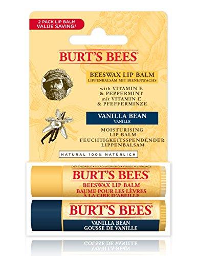 Bálsamo labial hidratante Burt's Bees 100% natural, pack dos por uno, cera de abejas y vainilla, 2 tubos de 4,25 gramos.
