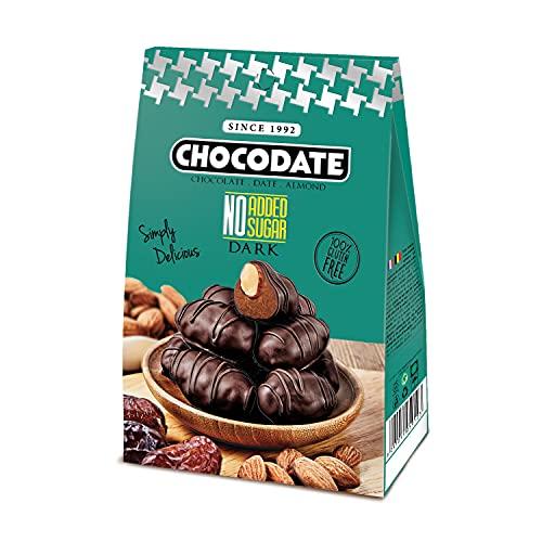 Gluten- und gentechnikfreie dunkle Chocodate mit goldgerösteten Mandeln, eingewickelt in authentisches arabisches Dattel und überzogen mit dunklen Pralinen, 80 g Schachtel - ohne Zuckerzusatz
