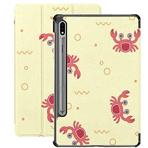 Funda Galaxy Tab S7 Plus con Soporte para bolígrafo S Cangrejos en Playas arenosas Funda de Piel sintética Bonita para Samsung Galaxy Tab S7 Plus 12,4 Pulgadas 2020, Funda Galaxy Tab S7 Plus con acti