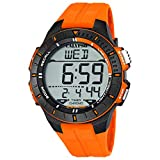 Calypso Orologio da polso da uomo, al quarzo, in plastica, con cinturino in poliuretano, sveglia, cronografo digitale tutti i modelli K5607, numero articolo: K5607/1, arancione