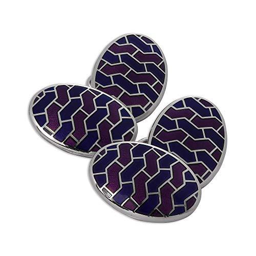Boutons de Manchette Ovales à Motifs Bleus et Violets en Argent 925/1000 et Email - A chaînette