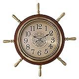 Reloj de pared simple Estilo de la vendimia del timón Styling elegante reloj de pared de la sala de estar Estudio colgar de la pared decoración accionada batería (marrón) Hall, sala de exposiciones