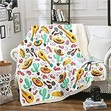 Manta con estampado de cactus Boho suculenta sherpa para niños y niñas, con diseño de chile y mantas de felpa para cuna, sofá, cama, sofá, cama, manta de matrimonio, 152 x 200 cm
