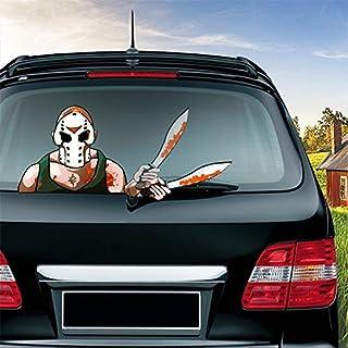 MIYSNEIRN Halloween Horror Machete Killer Waving Wiper Decal for Rear Window 3D Cartoon Festive Car Sticker Reusable Water...