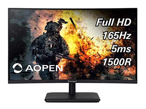 AOPEN 27HC5R Pbiipx 27″ 1500R Curved Full HD (1920 x 1080) VA Gaming Monitor with AMD Radeon FREESYNC Premium Technology, 165Hz (Display Port & 2 x HDMI Ports), Black