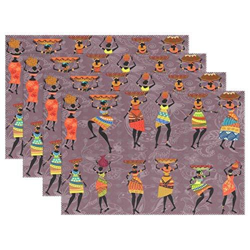 Promini Platzdeckchen mit afrikanischem Tribal-Muster, Vintage-Blumen-Motiv, rutschfest, waschbar, hitzebeständig, Platzdeckchen für Küche, Esszimmer, Deko, Tablett Set, 4 Stück