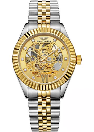 BRIGADA Swiss Brand Nice Classic Luxury Gold Hollow Mechanical Automatic Men's Watch