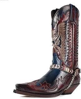 Bottes De Cowboy Occidentales pour Hommes Broderie Vintage Bout Pointu Chevalier Botte D'équitation Grande Taille Bottes M...