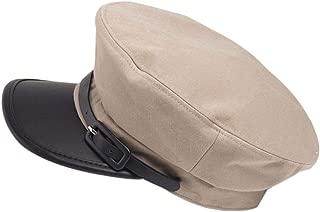 Women Men Captain Hat Retro Peaked Beret Cap Classic Vintage Flat Cap Newsboy Cabbie Navy Hat