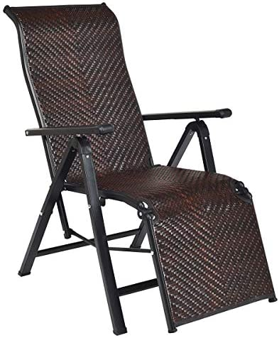 Best Tangkula Folding Reclining Rattan Chair, Portable Chaise Lounge Chair w/Adjustable Positions, Outdoo
