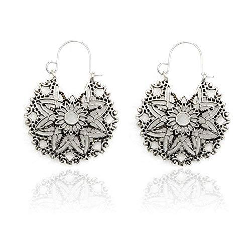 XAOQW Pendientes de Mujer, Pendientes Colgantes de Plata, Estilo Antiguo, geométrico, étnico, Flores, Colgantes,-3952-plata