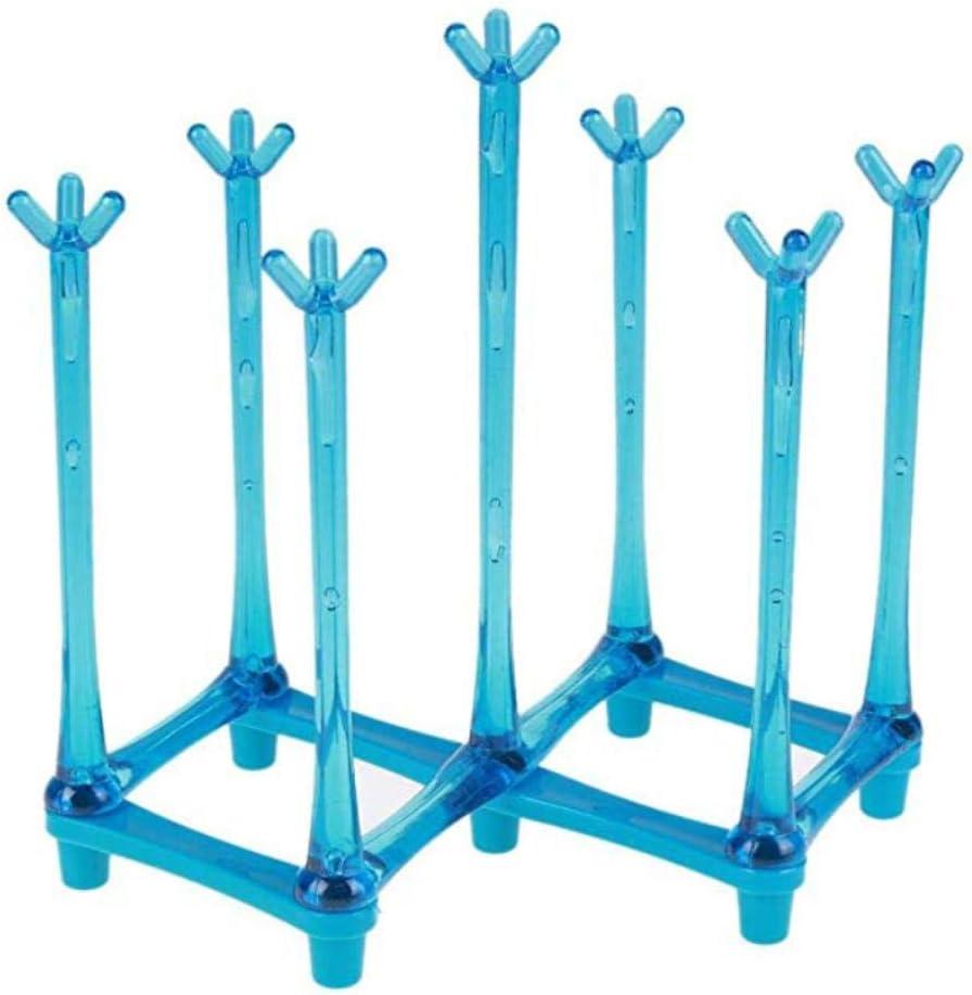 Bleu Porte-gobelet r/étractable pour 7 tasses Pour le s/échage des bouteilles Support pour sac en plastique et arbre /à tasses avec fond antid/érapant pour plan de travail de cuisine