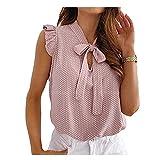 N\P Las mujeres Blusas de manga corta camisa femenina Tops volantes Pullover Vintage Dot Verano Encaje