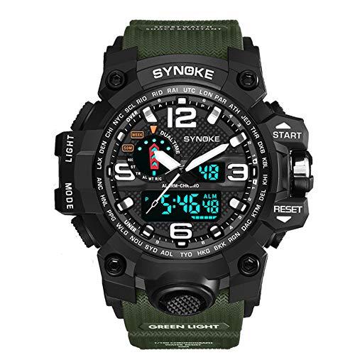 TZX Menschen Zu, Outdoor-Klettersport Dual-Display elektronische Uhren, Leuchtend, wasserdichte Uhr Militär - Armee grün