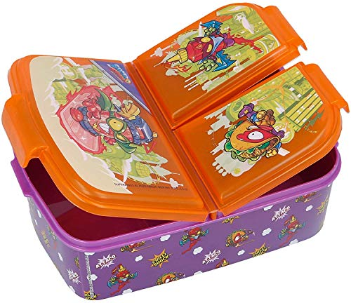 Gym Sandwichera con 3 Compartimentos para niños - lonchera Infantil - Porta merienda - Fiambrera Decorada (Naranja-ZI)