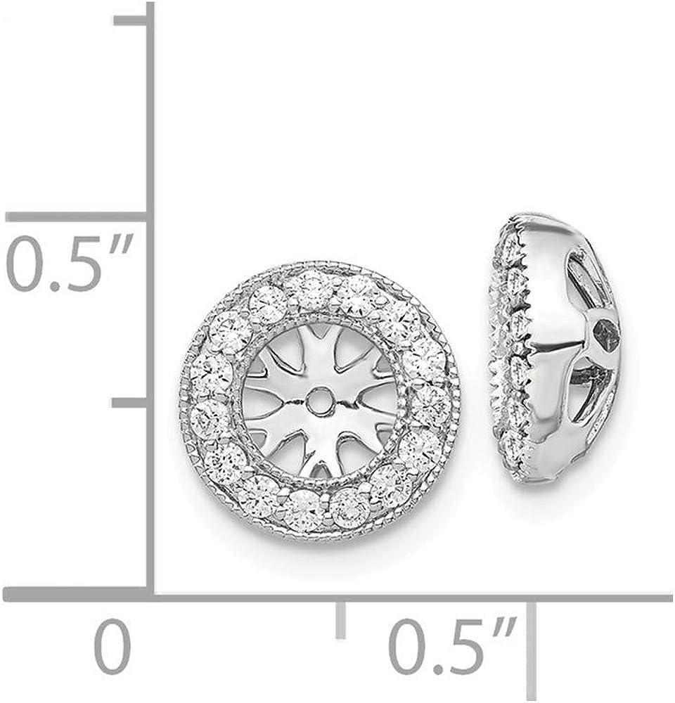 FB Jewels 14k White Gold Diamond Earrings Jackets (0.39