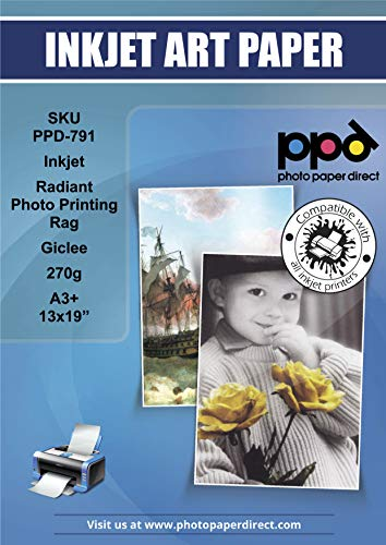 PPD Fotopapier für Tintenstrahldrucker, 100 % Baumwollfaser, Giclée-Archival A3+ (A3 Plus, 33 x 48,3 cm), 270 g/m² x 25 Blatt PPD-791-25