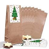 25 bolsas pequeñas marrones con base de pergamino (7 x 4 x 20,5 cm) + 25 pegatinas de árbol de navidad (5 x 15 cm) – Embalaje Mini regalos de Navidad bolsas de suelo en cruz para give-away