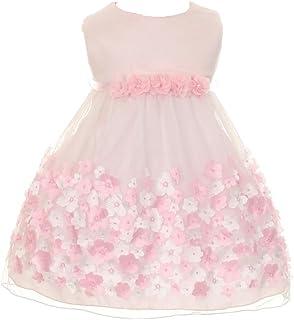 Baby Girls' Mesh Taffeta 3D Chiffon Wedding Easter Flowers Girls Dresses 6M-24M