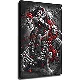 Cuadro abstracto de esqueleto, para pared, diseño de pareja de esqueleto, para montar en motocicleta, para salón, dormitorio, baño, decoración vertical sin marco, 60 x 90 cm
