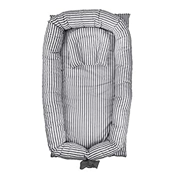 Abreeze Baby Bassinet for Bed Baby Nest -Grey Striped Baby Lounger - Breathable Co-Sleeping Baby Bed - Newborn Lounger Portable Crib for Bedroom/Travel
