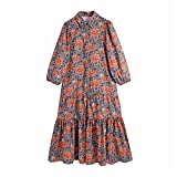 Women Vintage Totem Flower Print Pleated Ruffles Midi Shirt Dress Female Chic Puff Sleeve Casual Dresses