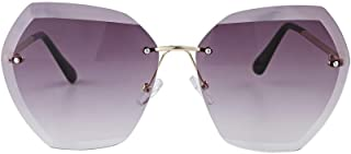 EXEcharge 2019 New Oversized Rimless Gradient Diamond Cutting Lens Sunglasses