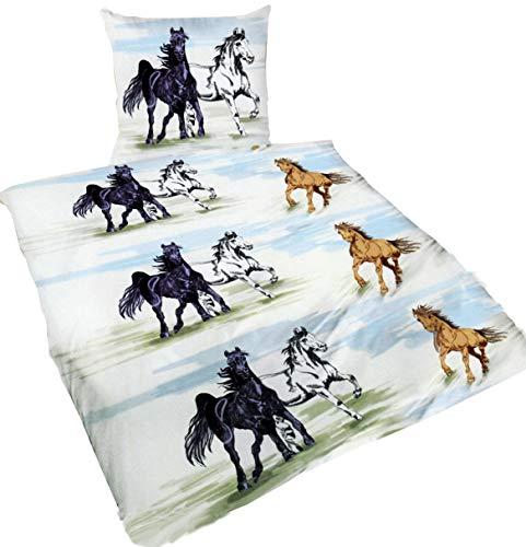 Brandsseller beddengoedset paarden - dekbedovertrek 135 x 200 cm kussensloop 80 x 80 cm 100% katoen