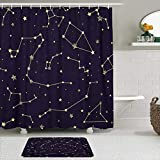 PENGTU Shower Curtain Sets with Non-Slip Rugs,Black Abstract with...