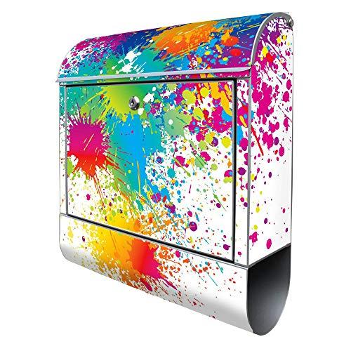 Banjado Design Briefkasten mit Motiv Farbspritzer | Stahl pulverbeschichtet mit Zeitungsrolle | Größe 38x47x14cm, 2 Schlüssel, A4 Einwurf, inkl. Montagematerial