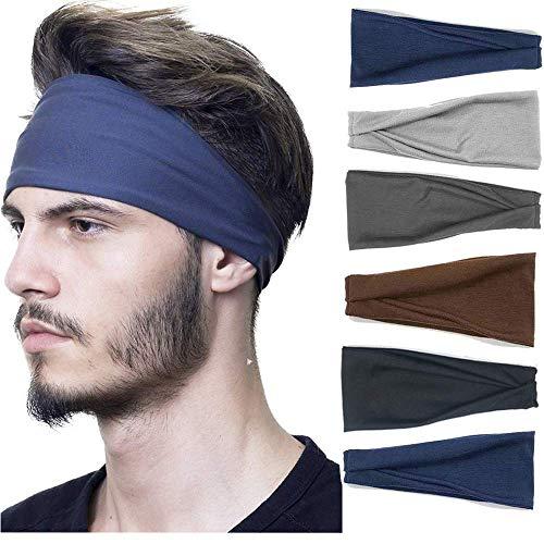 Headbands For Men, 6 PCS Running Sports Headbands Elastic Non Slip Sweat Headbands Workout Hair Fashion Bands for boys