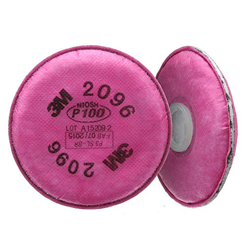 3M P100 Respirator Filter 2096, 1 Pair, Helps Protect Against Oil and Non-Oil Based Particulates, Nuisance Level Acid Gas Relief, Dust, Fumes, and Mists.