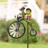 SIZHINAI Frogs on a Vintage Bicycle, Bunnies on Bicycle Wind Spinner, Mantis on Bike Spinner Pole, Cat and Mouse on Motorcycle Metal Garden Windmill Decoration for Yard Patio Lawn Decor