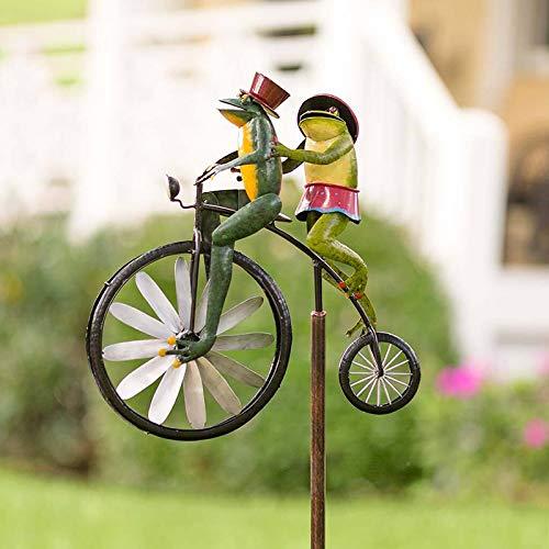 BOLANA Vintage Fahrrad Metall Wind Spinner mit Stehpol Garten Garten Rasen Dekoration